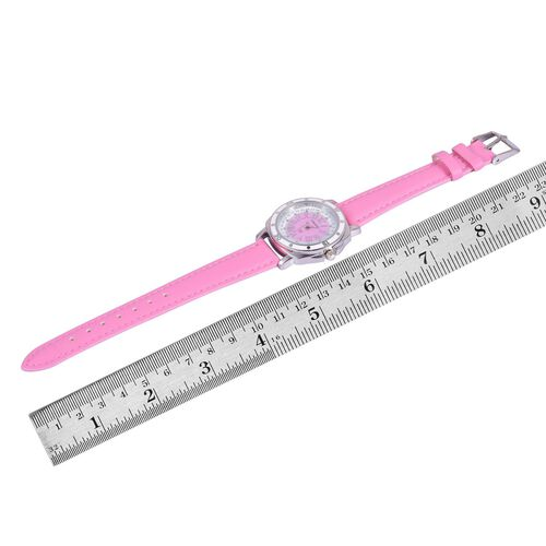 STRADA Japanese Movement Pink and White Dial Water Resistant Watch in Silver Tone with Stainless Steel Back and Pink Strap