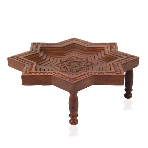 Home Decor - Star Shaped with Flower Carving Foldable Spring Tray (Size 25x25 Cm)