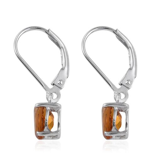 Citrine (Ovl) Lever Back Earrings in Platinum Overlay Sterling Silver 1.500 Ct.