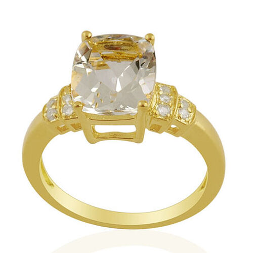 KARIS Collection - White Topaz (Cush 3.50 Ct) Ring in Gold Bond  3.60 Ct.