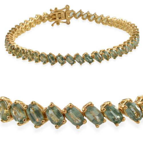 Orissa Green Kyanite (Ovl) Bracelet in 14K Gold Overlay Sterling Silver (Size 7.5) 14.500 Ct.