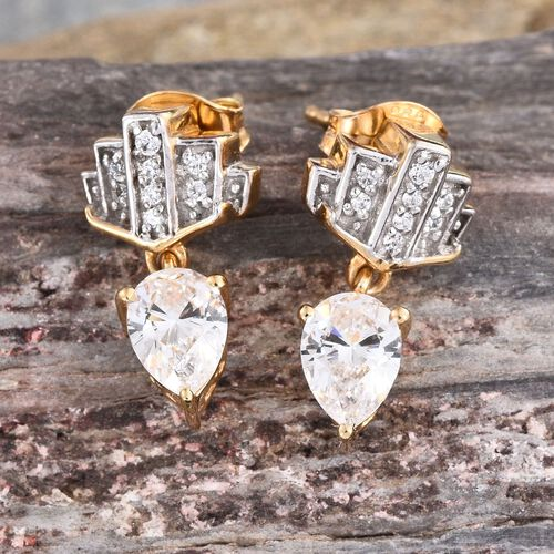 J Francis - 14K Gold Overlay Sterling Silver (Pear) Earrings (with Push Back) Made with SWAROVSKI ZIRCONIA