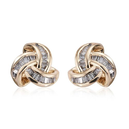 9K Y Gold Diamond (Bgt) (I2-I3/G-H) Triple Knot Stud Earrings (with Push Back) 0.250 Ct.