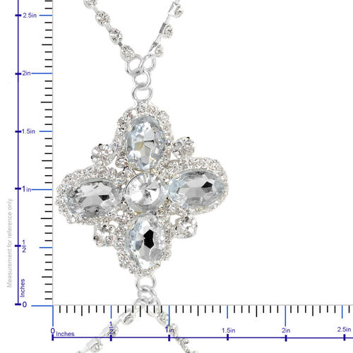 (Option 2) Close Out Deal White Glass and White Austrian Crystal Chain in Silvertone