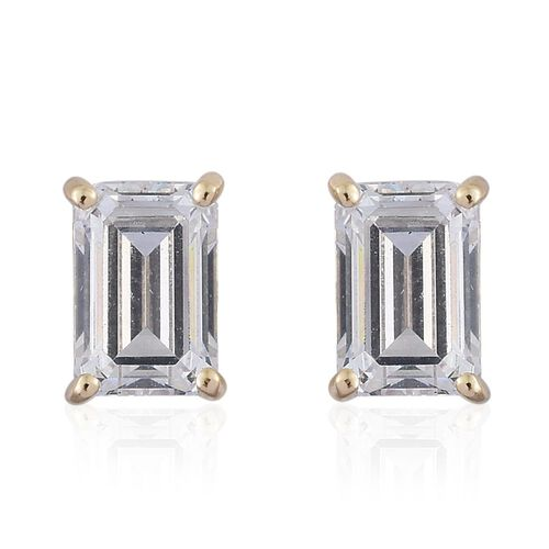 9K Yellow Gold Octagon Stud Earrings (with Push Back) Made with SWAROVSKI ZIRCONIA