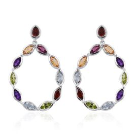 Rhodolite Garnet (Mrq), Mozambique Garnet, Sky Blue Topaz, Hebei Peridot, Citrine and Amethyst Earrings (with Push Back) in Platinum Overlay Sterling Silver 5.535 Ct.