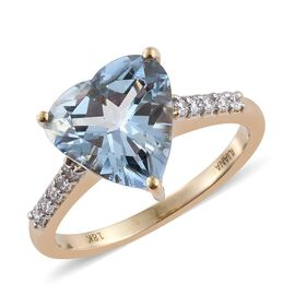 One Off-ILIANA 18K Y Gold Santa Maria Aquamarine (Hrt 3.05 Ct), Diamond Ring 3.250 Ct.
