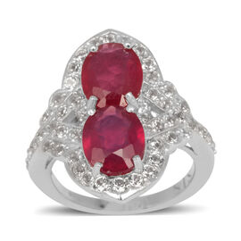 African Ruby (Ovl), White Topaz Ring in Rhodium Plated Sterling Silver 7.060 Ct.