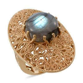 Labradorite (Rnd) Ring in 14K Gold Overlay Sterling Silver 11.250 Ct.