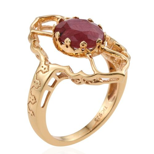 Kimberley Crimson Spice Collection Enhanced Ruby (Ovl) Ring in 14K Gold Overlay Sterling Silver 3.000 Ct.