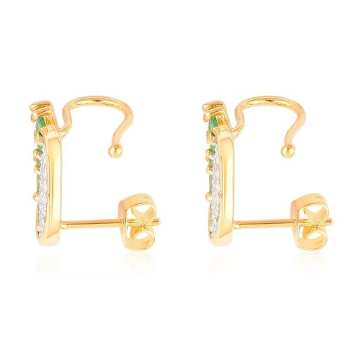 Kagem Zambian Emerald (Rnd), White Zircon Angel Wings Earrings (with Push Back) in Yellow Gold Overlay Sterling Silver 1.250 Ct.