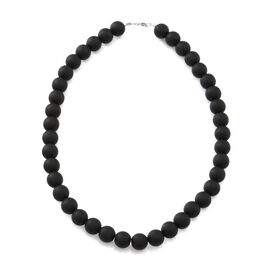 Rare Size AAA Black Onyx Beaded Necklace (Size 18) in Rhodium Plated Sterling Silver 450.000 Ct.