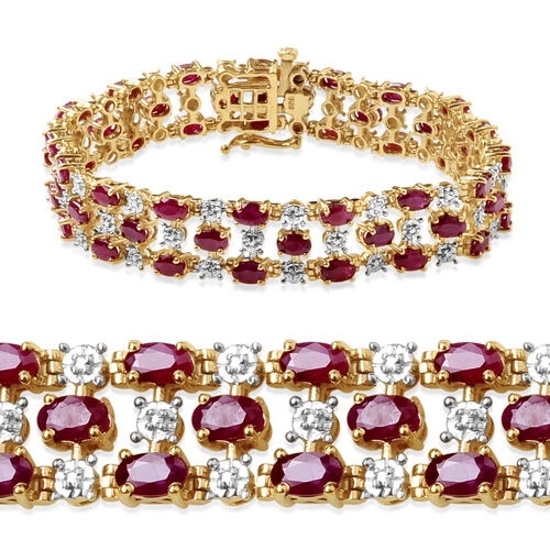 Burmese Ruby (14.25 Ct) and Diamond 14K Gold Overlay Sterling Silver Bracelet (Size 7.5)  14.260  Ct.