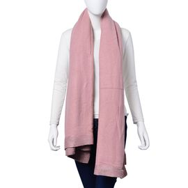 Pink Colour Scarf with Sequin Border (Size 180x120 Cm)