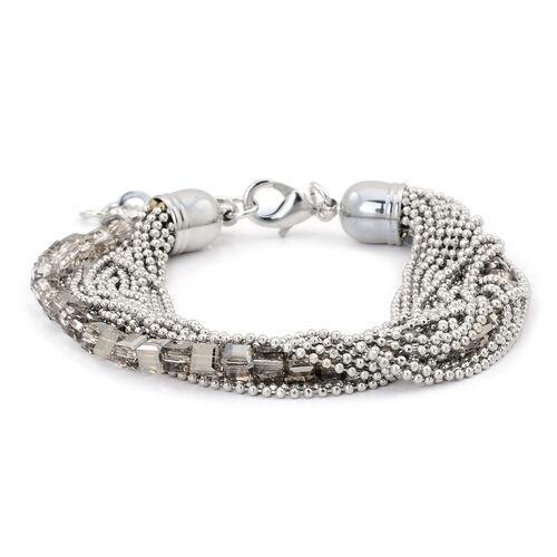 Handmade 19 Strand, Multi layer Diamond Cut Grey Beaded Chain and Cubical Glass Bracelet