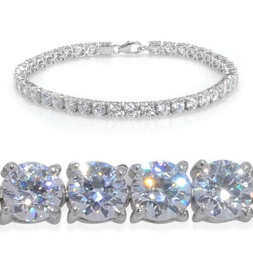 J Francis- Platinum Overlay Sterling Silver (Rnd) Bracelet Made with SWAROVSKI ZIRCONIA (Size 7.5) 11.20 Ct.
