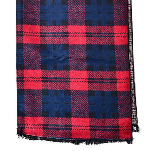 Red and Blue Colour Checks Pattern Scarf with Fringes (Size 180x65 Cm)