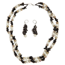 Glass Pearl, Black Tourmaline and Glass Necklace (Size 20) and Lever Back Earrings in Silver Tone with Stainless Steel 301.180 Ct.