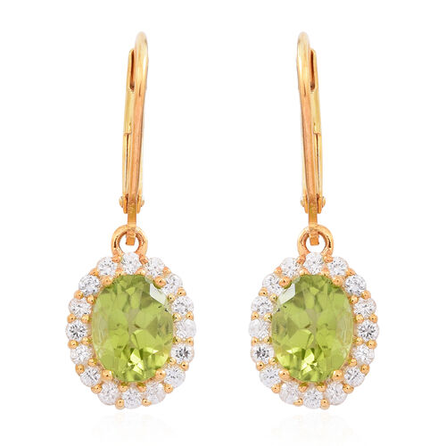 Hebei Peridot (Ovl), Natural White Zircon Lever Back Earrings in 14K Gold Overlay Sterling Silver 3.750 Ct.