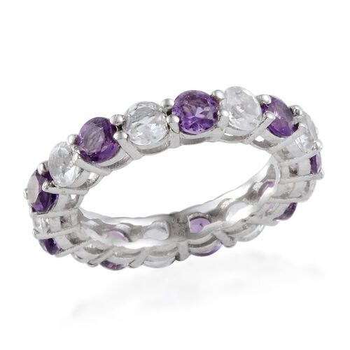 Amethyst (Rnd), White Topaz Full Eternity Ring in Platinum Overlay Sterling Silver 4.750 Ct.