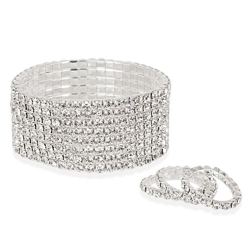 Close Out Deal White Austrian Crystal (Rnd) Stretchable 8 Row Bracelet (Size 7.50) and 3 Rings in Silver Tone