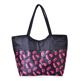 Fuchsia Colour Lip Pattern Black Colour Tote Bag (Size 52x38x32x15.5 Cm)