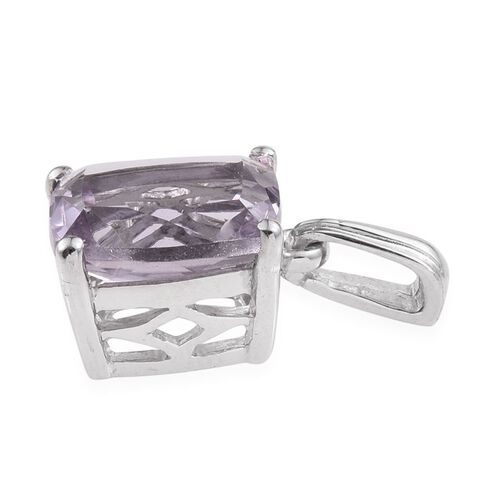 Rose De France Amethyst (Cush) Solitaire Pendant in Platinum Overlay Sterling Silver 3.000 Ct.