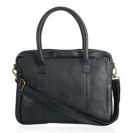 Black Colour Genuine Leather Laptop Bag with Two Compartments and Adjustable and Removable Shoulder Strap (Size 39x30x9 Cm)