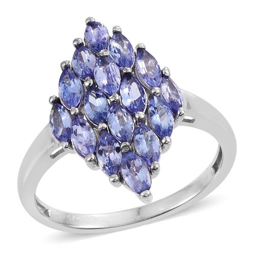 Tanzanite (Mrq) Ring in Platinum Overlay Sterling Silver 2.000 Ct.