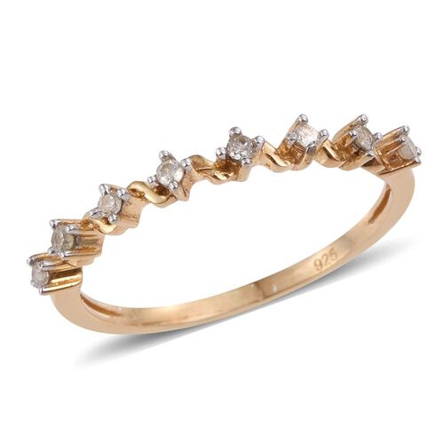Diamond (Rnd) Half Eternity Ring in 14K Gold Overlay Sterling Silver 0.150 Ct.