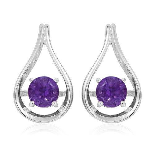 Amethyst (Rnd) Earrings (with Push Back) in Sterling Silver 2.000 Ct.