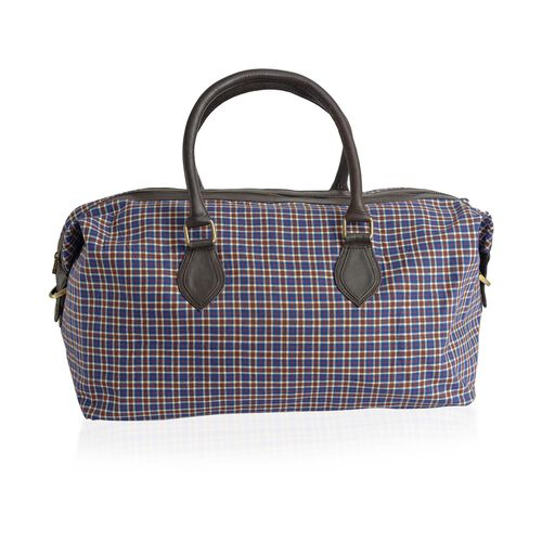 Genuine Leather Woolen Blend Chocolate and Blue Colour Checks Weekend Bag  (Size 53x32x25 inch)