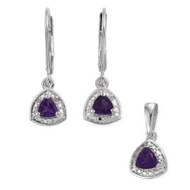Amethyst 0.65 Carat Trillion Pendant and Earrings in Platinum Overlay with Diamonds