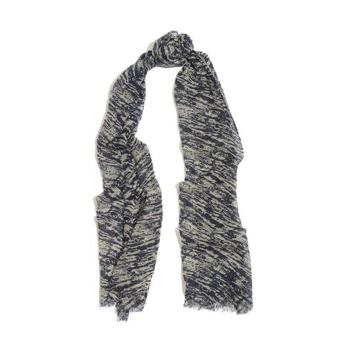 100% Merino Wool Woven Dark Blue and White Colour Scarf (Size 175x70 Cm)