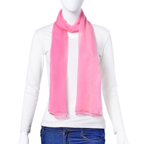 100% Mulberry Silk Pink Colour Scarf (Size 170X70 Cm)