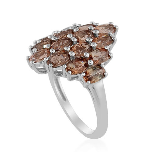 Jenipapo Andalusite (3.25 Ct) Platinum Overlay Sterling Silver Ring