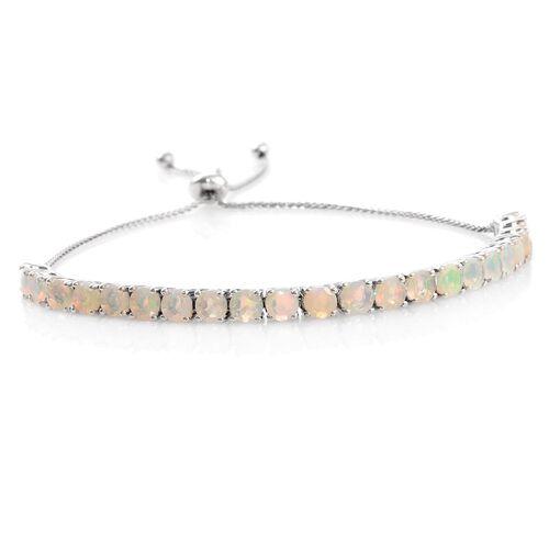 Ethiopian Welo Opal (Rnd) Adjustable Bracelet (Size 6.5 to 8) in Platinum Overlay Sterling Silver 3.500 Ct.