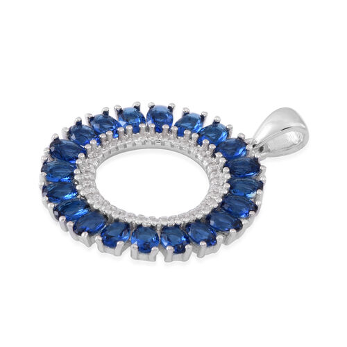 ELANZA AAA Simulated Ceylon Sapphire (Ovl), Simulated Diamond Pendant in Rhodium Plated Sterling Silver