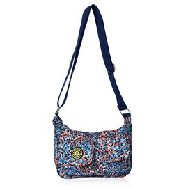 Designer Inspired Navy, Orange and Multi Colour Printed Handbag with External Zipper Pocket and Adjustable Shoulder Strap (Size 25x18x8 Cm)
