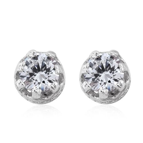 J Francis - Platinum Overlay Sterling Silver (Rnd) Stud Earrigns (with Push Back) Made with SWAROVKI ZIRCONIA