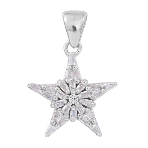 ELANZA AAA Simulated White Diamond (Rnd) Star Pendant in Rhodium Plated Sterling Silver
