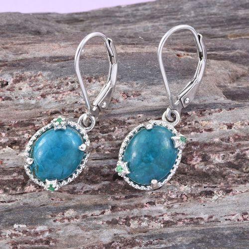 Opalina (Ovl), Kagem Zambian Emerald Lever Back Earrings in Platinum Overlay Sterling Silver 4.330 Ct.