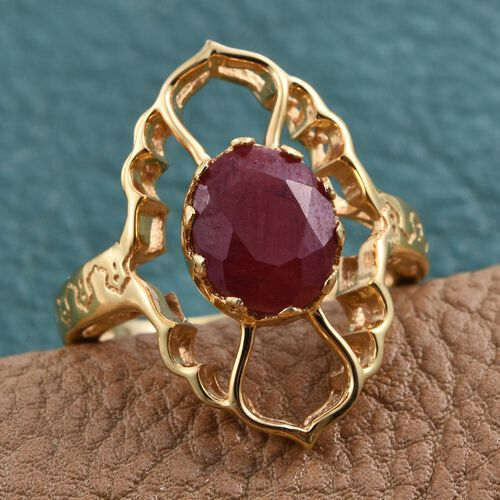 Enhanced Ruby (Ovl) Ring in 14K Gold Overlay Sterling Silver 3.000 Ct.