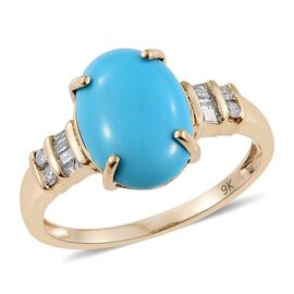 9K Y Gold AAA Arizona Sleeping Beauty Turquoise (Ovl 4.30 Ct), Diamond Ring 4.500 Ct.