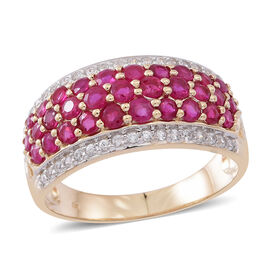 9K Y Gold AAAA Burmese Ruby (Rnd), Natural Cambodian White Zircon Ring 2.500 Ct. Gold Wt 4.05 Gms