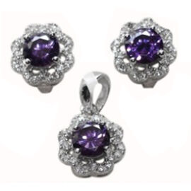 ELANZA AAA Simulated Amethyst (Rnd), Simulated Diamond Earrings (with Clasp) and Pendant in Rhodium Plated Sterling Silver