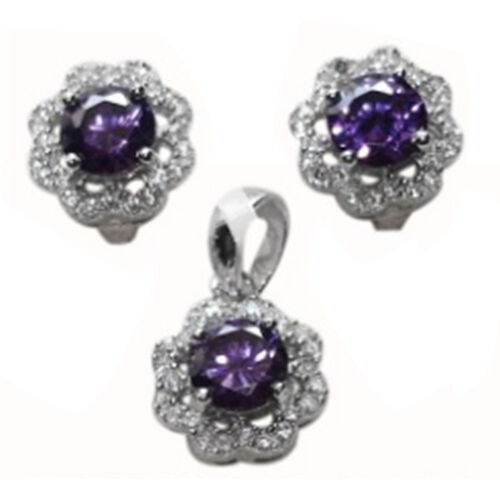 ELANZA AAA Simulated Amethyst (Rnd), Simulated Diamond Pendant and Earrings (with Clasp) in Rhodium Plated Sterling Silver