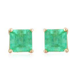 ILIANA 18K Y Gold AAA Boyaca Colombian Emerald (Oct) Stud Earrings (with Screw Back) 1.000 Ct.