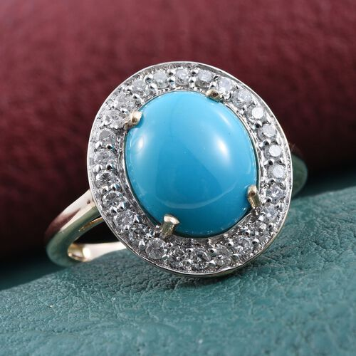 9K Y Gold Arizona Sleeping Beauty Turquoise (Ovl 3.75 Ct), Diamond Ring 4.250 Ct.