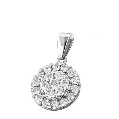 9K W Gold SGL Certified Diamond (Rnd) (I3/G-H) Cluster Pendant 1.000 Ct.